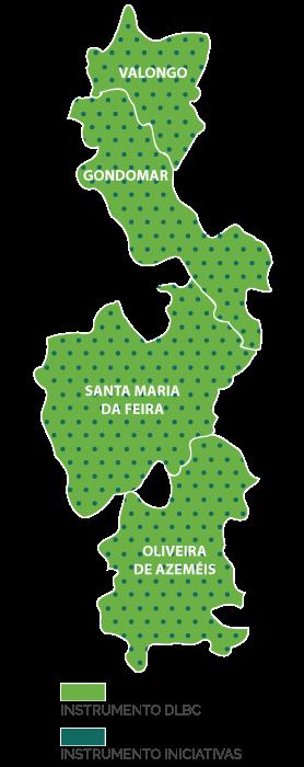 Mapa concelhos Valongo, Gondomar, Santa Maria da Feira e Oliveira de Azeméis